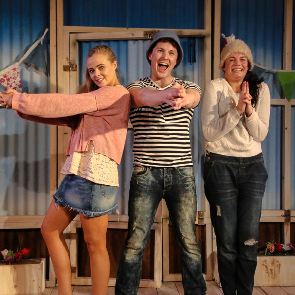 Belinda Wollaston (Lecy), Iestyn Arwel (Shaun) and Melle Stewart (Amy)
