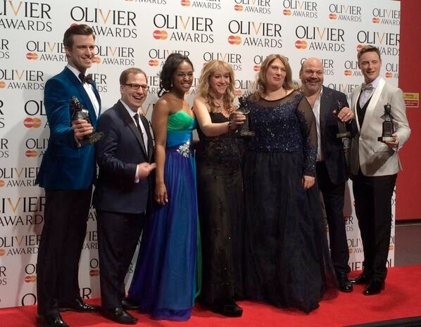 Meet the Mormons: Gavin Creel, Jared Gertner, Alexia Khadime, Sonia Friedman, Anne Garefino, Casey Nicholaw and Stephen Ashfield at the 2014 Olivier Awards