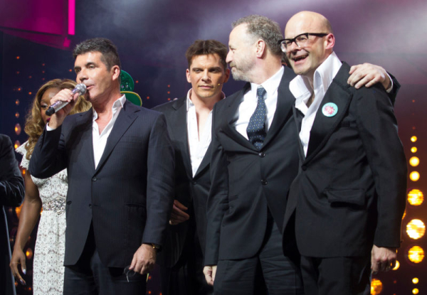 Simon Cowell on stage with Nigel Harman, Steve Brown and Harry Hill at the press night of I Can't Sing!