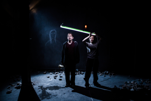 Harry McEntire and Leila Mimmack in Abigail Graham's production of Debris at the Southwark Playhouse