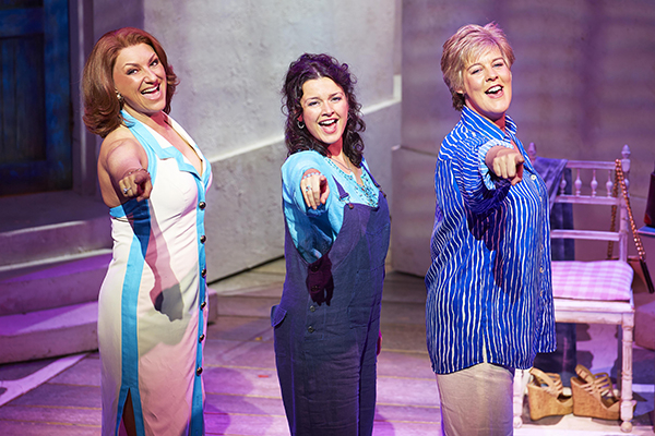Kim Ismay (Tanya), Dianne Pilkington (Donna) and Jane Milligan (Rosie) in the West End production of Mamma Mia!