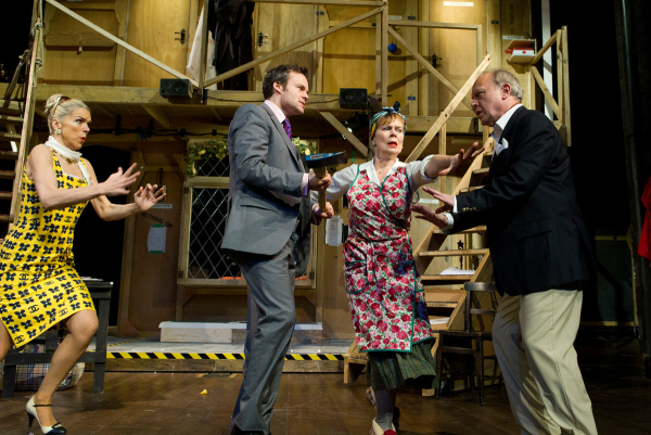 Janie Dee, Jamie Glover, Celia Imrie and Jonathan Coy in the Old Vic Theatre production of Noises Off