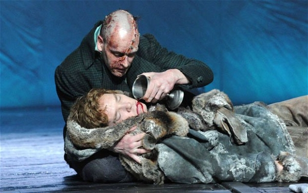 Jonny Lee Miller and Benedict Cumberbatch in the National Theatre production of Frankenstein directed by Danny Boyle