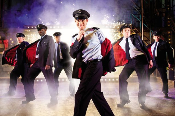 The cast of Full Monty the Play at Noel Coward Theatre