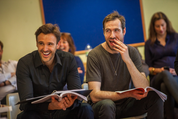 Michael Xavier and Eugene McCoy in rehearsals for The Pajama Game