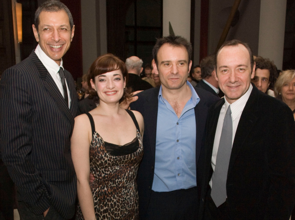 Spacey (r) with Warchus and Speed the Plow co-stars Jeff Goldblum and Laura Michelle Kelly in 2008