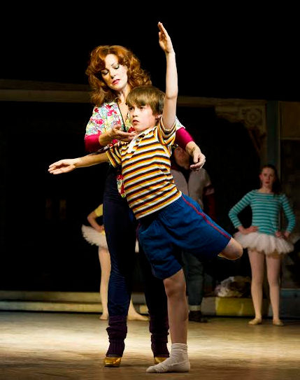 Ruthie Henshall (Mrs Wilkinson) and Matteo Zecca (Billy) in Billy Elliot