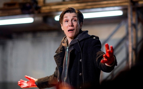 Harriet Walter as Brutus in Julius Caesar; she will star in Henry IV as part of a trilogy of all-female productions