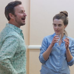 Andy Cryer and Jennifer Bryden in rehearsals for Last Train to Scarborough, currently running at the Stephen Joseph Theatre.