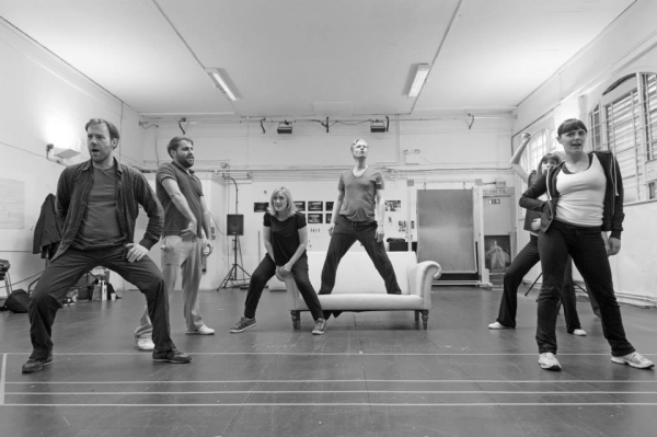 Cast in rehearsal for Mr Burns at the Almeida Theatre
