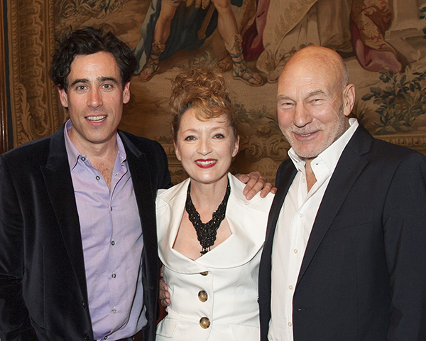 Stephen Mangan, Leslie Manville and Sir Patrick Stewart attend Almeida Theatre's fundraiser gala at Drapers Hall