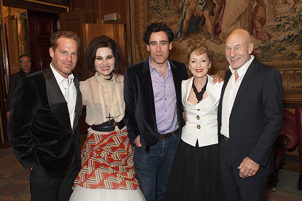 (L-R) Adam James, Kate Fleetwood, Stephen Mangan, Leslie Manville and Sir Patrick Stewart attend Almeida Theatre's fundraiser gala at Drapers Hall