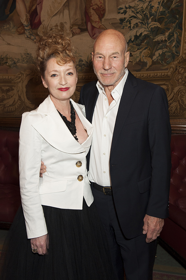 Leslie Manville and Sir Patrick Stewart attend Almeida Theatre's fundraiser gala at Drapers Hall