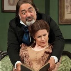 Jonathan Veira (Doctor Bartolo) and Kitty Whateley (Rosina) in Il barbiere di Siviglia (Opera Holland Park)