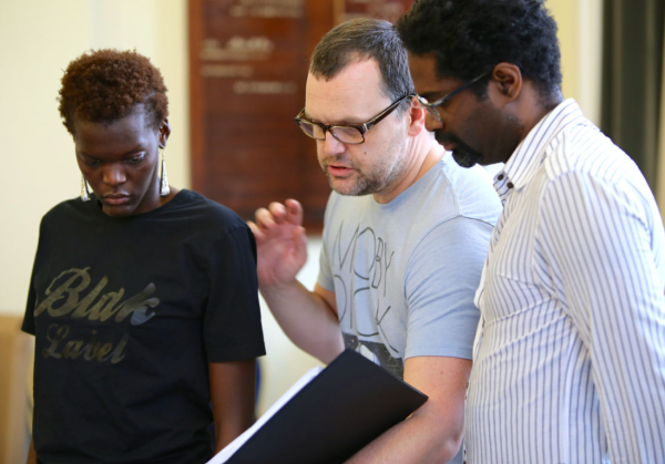 Che Walker in rehearsals for Klook's Last Stand with Sheila Atim and Ako Mitchell