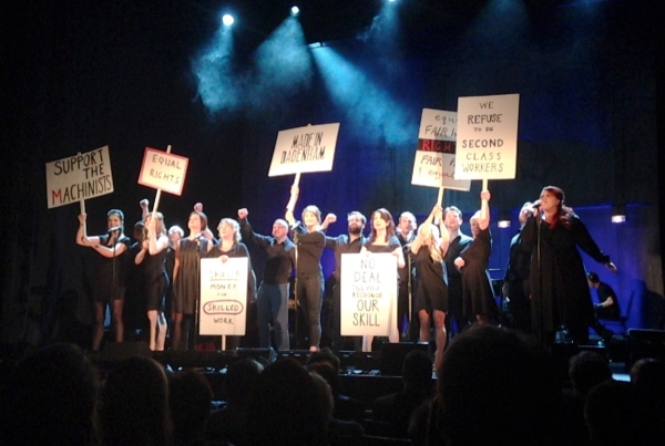 The cast of Made in Dagenham at today's press performance