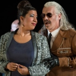 Mary Elizabeth Williams (Abigaille) and David Kempster (Nabucco) in Nabucco (WNO)