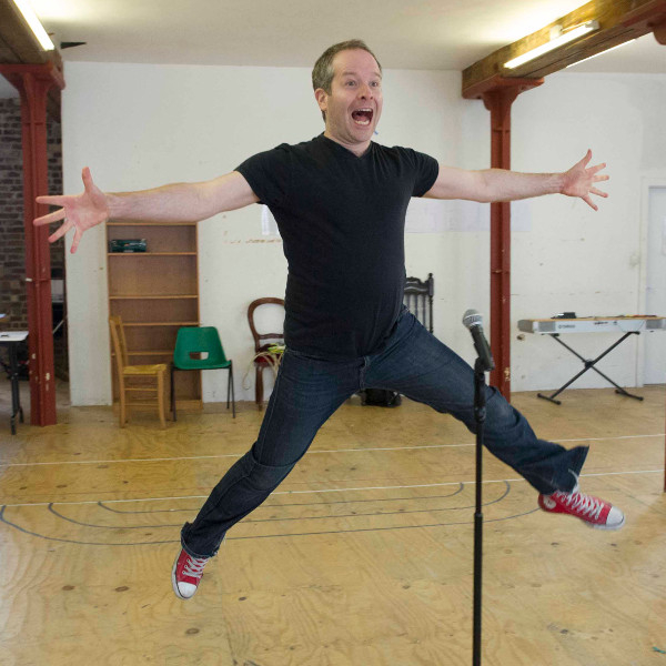 Damian Humbley in rehearsal for Forbidden Broadway
