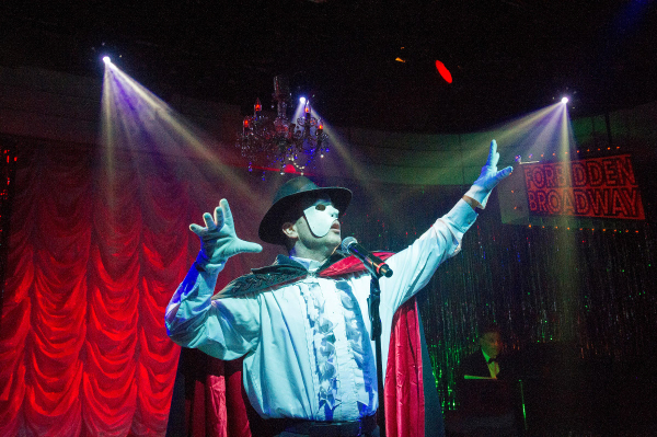 Damian Humbley channels the Phantom in Forbidden Broadway