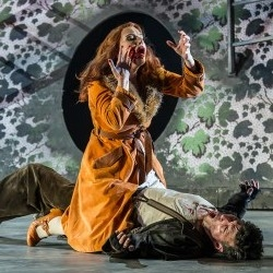 Claire Booth as the Vixen and Joshua Bloom as Harasta in The Cunning Little Vixen (Garsington Opera)