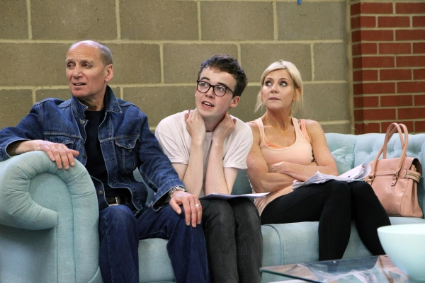 Alex Lawther (center) in rehearsals with Michael Feast and Michelle Collins