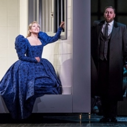 Joyce DiDonato as Maria and Matthew Rose as Talbot in Maria Stuarda (ROH)
