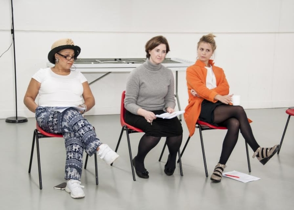 Yolanda Kettle (r) with Nicola Blackman and Beverley Longhurst in rehearsals
