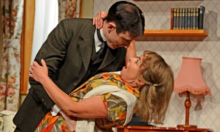 Daniel Weyman (Kafka) and Samantha Spiro (Linda) in Kafka's DIck at Bath Theatre Royal