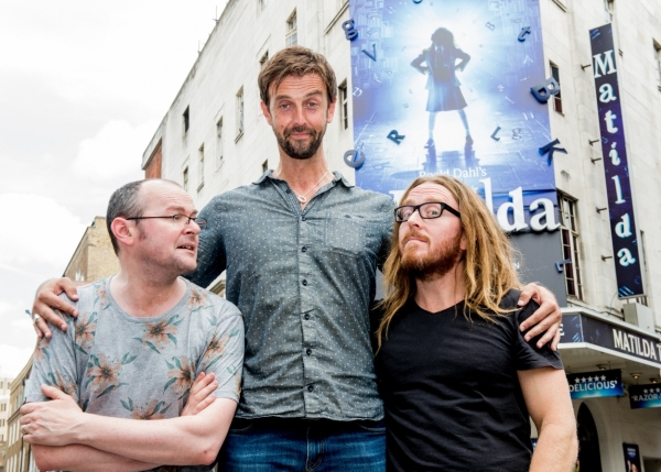 Tall order: Craige Els (centre) with Matilda book writer Dennis Kelly and composer Tim Minchin