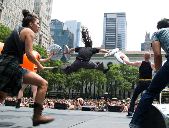 Stomp perform during Broadway in Bryant Park - New York's answer to West End Live