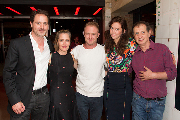 Joshua Andrews (producer), Gillian Anderson (Blanche DuBois), Ben Foster (Stanley Kowalski), Vanessa Kirby (Stella Kowalski) and David Lan (artistic director)