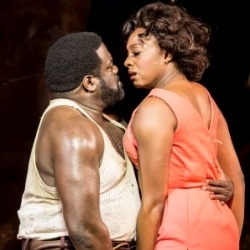 Philip Boykin as Crown and Nicola Hughes as Bess in Porgy and Bess (Open Air Theatre