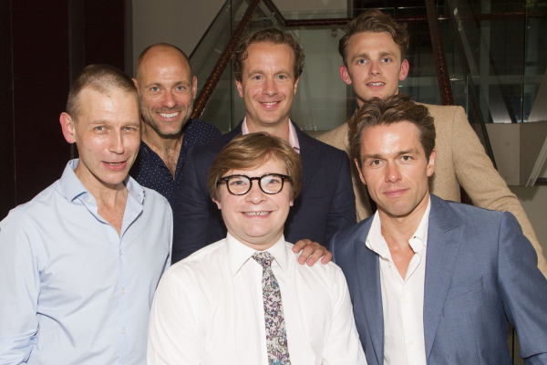 Richard Cant (Bernie), Matt Bardock (Benny), Jonathan Broadbent (Guy), Geoffrey Streatfeild (Daniel), Lewis Reeves (Eric) and Julian Ovenden (John) attend the after party on Press Night for My Night With Reg