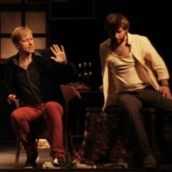Jon Stainsby (Botney) and Tom Morss (Masetto) in Madame X at the Arcola Theatre