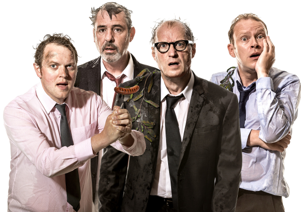 Miles Jupp, Neil Morrissey, Ade Edmondson and Robert Webb
