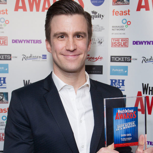 Creel with his WhatsOnStage Award