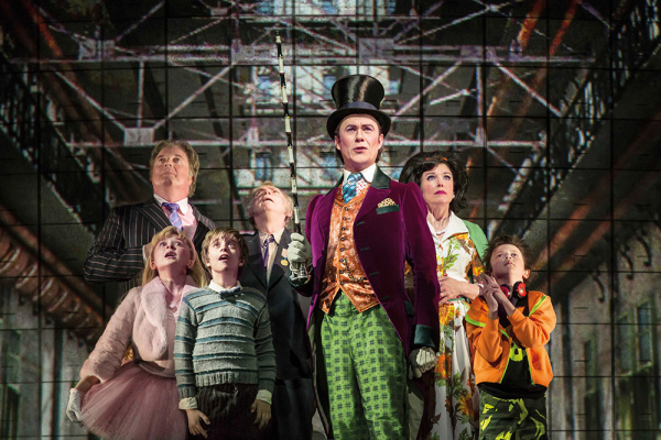 Alex Jennings (Willy Wonka) and the cast of Charlie and the Chocolate Factory