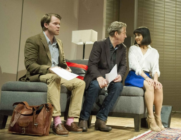 Oliver Hembrough (Douglas), Roger Allam (Leonard) and Rebecca Grant (Izzy) in Seminar