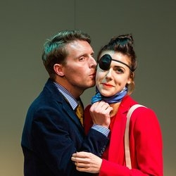 Christopher Harper and Charlotte Harwood in Slipping by Claudine Toutoungi at the Stephen Joseph Theatre, Scarborough.