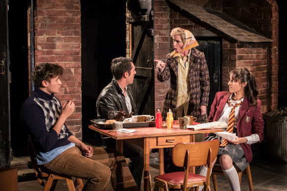 L-R Saleem (Nathan Clarke), Tariq (Ashley Kumar), Ella Khan (Jane Horrocks) & Meenah (Taj Atwal) in East is East at the Trafalgar Theatre