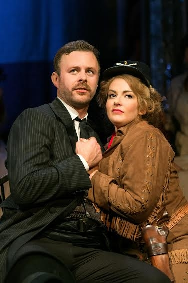 Tom Lister (Wild Bill Hickock) and Jodie Prenger (Calamity Jane) in Calamity Jane.
