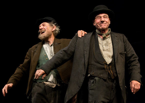Ian McKellen and Patrick Stewart during a curtain call for Waiting for Godot