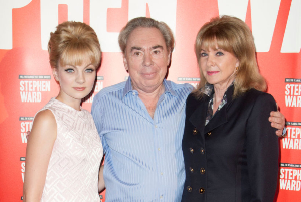 Charlottle Blackledge, Andrew Lloyd Webber and Mandy Rice-Davies at the launch of Stephen Ward