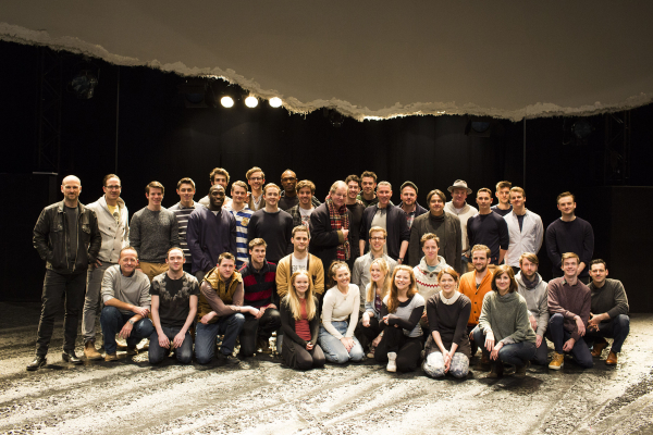 Michael Morpurgo with the new cast of War Horse at the New London Theatre
