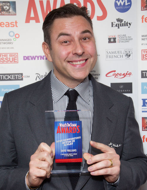 David Walliams with his 2014 WhatsOnStage Award