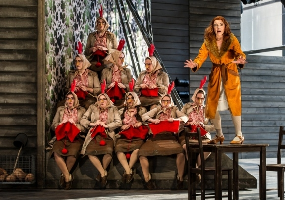 Claire Booth as the Vixen (together with some chickens) in The Cunning Little Vixen (Garsington Opera)