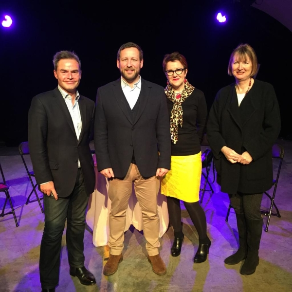 Peter Whittle, Ed Vaizey, Rosie Goldsmith and Harriet Harman at the Vault debate