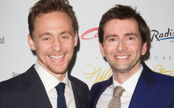 Tom Hiddleston and David Tennant with their WhatsOnStage Awards, for Best Play Revival and Best Actor in a Play