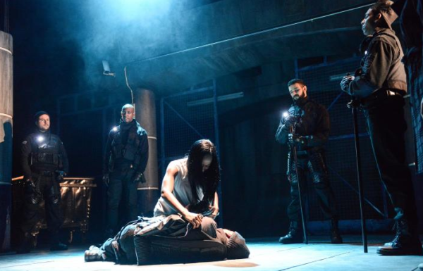 The cast of Antigone at the Theatre Royal, Stratford East