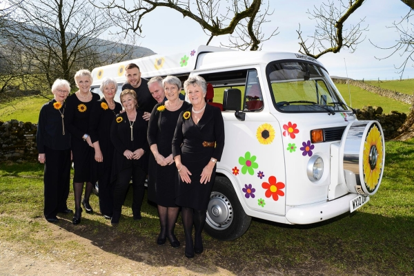 Gary Barlow and Tim Firth with the original Calendar Girls at the launch of the musical in Burnsall Village